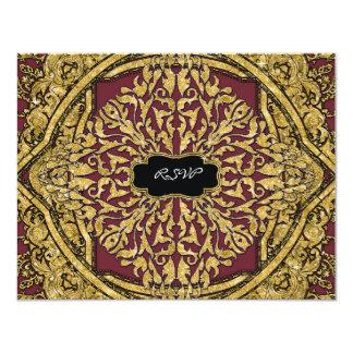 Moroccan Swirl Scroll Gold Glitter Elegant Wedding Card