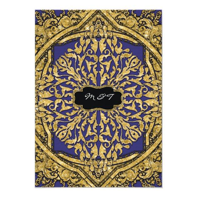 Moroccan Swirl Scroll Gold Glitter Elegant Wedding Card (back side)