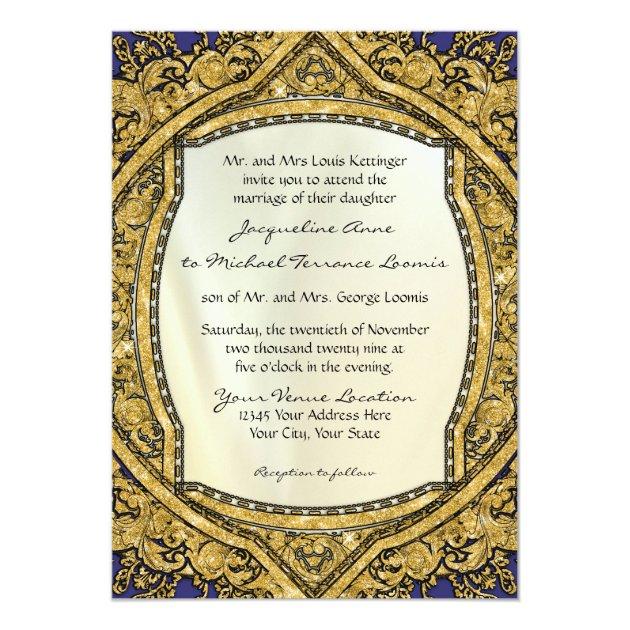 Moroccan Swirl Scroll Gold Glitter Elegant Wedding Card (front side)