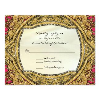 Moroccan Swirl Scroll Gold Glitter Elegant Wedding 4.25x5.5 Paper Invitation Card
