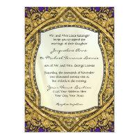Moroccan Swirl Scroll Gold Glitter Elegant Wedding Invitation