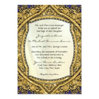 Moroccan Swirl Scroll Gold Glitter Elegant Wedding 5x7 Paper Invitation Card