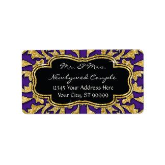 Moroccan Swirl Scroll Gold Glitter Elegant Wedding Address Label