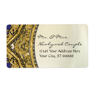 Moroccan Swirl Scroll Gold Glitter Elegant Wedding Shipping Label