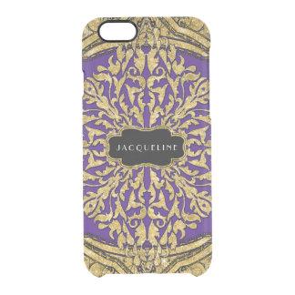 Moroccan Swirl Scroll Gold Glitter Look Elegant Clear iPhone 6/6S Case