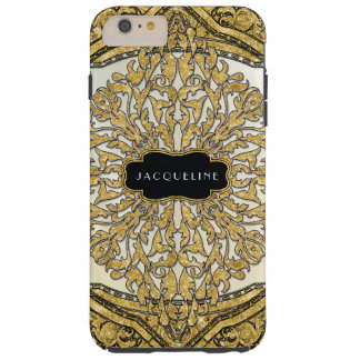 Moroccan Swirl Scroll Gold Glitter Look Elegant Tough iPhone 6 Plus Case
