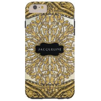 Moroccan Swirl Scroll Gold Glitter Look Elegant Tough iPhone 6 Plus Case