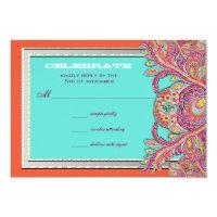 Moroccan Tangerine &amp; Aqua Wedding RSVP 3.5x5 Paper Invitation Card (<em>$2.44</em>)