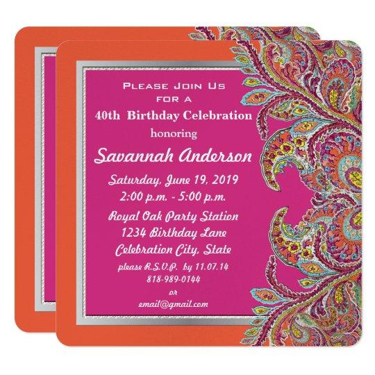 Moroccan Tangerine & Fuchsia 40th Birthday Party Card