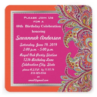 Moroccan Tangerine Fuchsia 40th Birthday Party Personalized Announcements