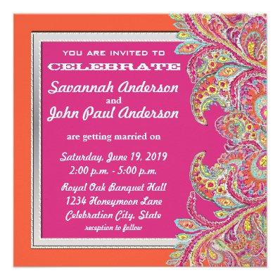 Moroccan Tangerine & Fuchsia Wedding Invitations
