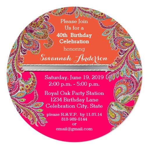 moroccan_tangerine_hot_pink_40th_birthday_party_invitation ...