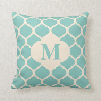 Moroccan Teal Monogram Pillow