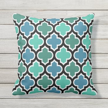 CozyLivin Moroccan Teal Turquoise Blue Quatrefoil Pattern Outdoor Pillow