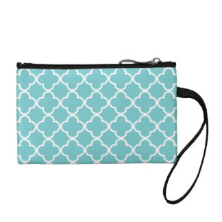 Moroccan Teal White Quatrefoil Pattern Coin Wallet
