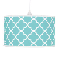 Moroccan Teal White Quatrefoil Pattern Ceiling Lamp