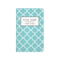 Moroccan Teal White Quatrefoil Pattern Journal