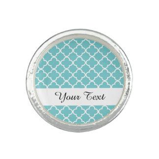 Moroccan Teal White Quatrefoil Pattern Photo Rings