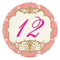 Moroccan themed round wedding table number 5.25x5.25 square paper invitation card (<em>$3.04</em>)