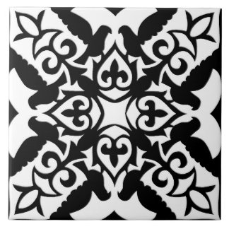 Moroccan tile - black with white background