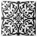 "Moroccan tile - black with white background<br><div class=""desc"">Moroccan inspired tile pattern with a polished,  ceramic look - black pattern with a white background</div>"