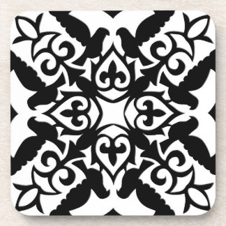 Moroccan tile - black with white background coaster