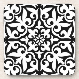 Moroccan tile - black with white background drink coaster