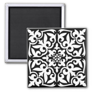 Moroccan tile - black with white background magnet