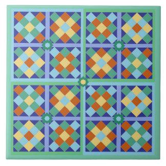Moroccan tile blocks in blue teal gold terracotta