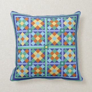 Moroccan tile blocks in blue teal gold terracotta pillows