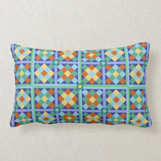 Moroccan tile blocks in blue teal gold terracotta pillow