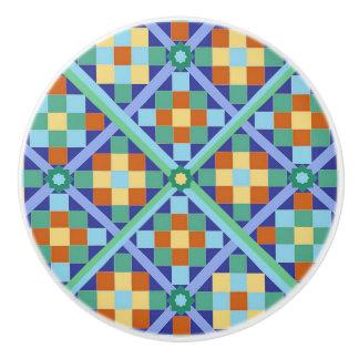Moroccan tile blocks in diamond formation ceramic knob