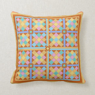 Moroccan tile blocks with earthy terracotta border throw pillow
