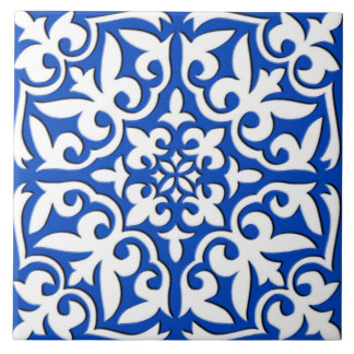 Moroccan tile - cobalt blue and white