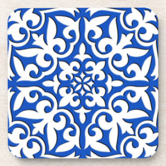Moroccan tile - cobalt blue and white drink coaster
