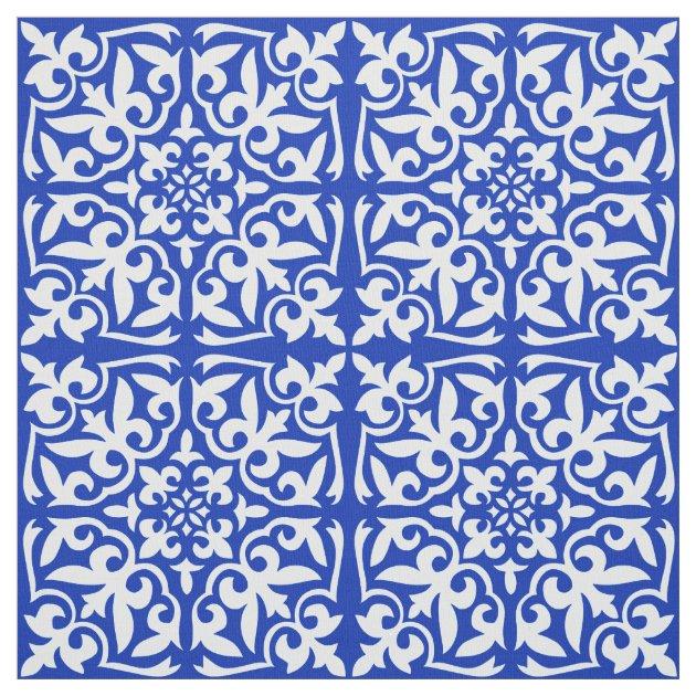 Moroccan tile - cobalt blue and white fabric | Zazzle.com
