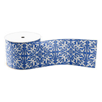 Moroccan tile - cobalt blue and white grosgrain ribbon