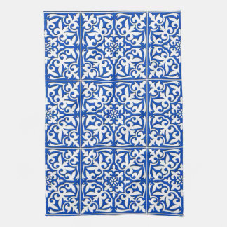 Moroccan tile - cobalt blue and white hand towel