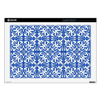 Moroccan tile - cobalt blue and white laptop decals