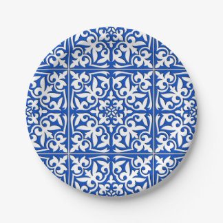 Moroccan tile - cobalt blue and white paper plate