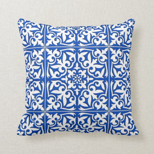 moroccan tile cobalt blue and white pillow zazzle. Black Bedroom Furniture Sets. Home Design Ideas