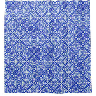 Moroccan Tile   Cobalt Blue And White Shower Curtain