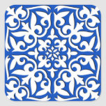 Moroccan tile - cobalt blue and white square sticker