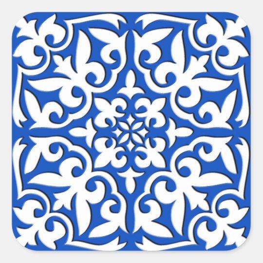 Moroccan Tile Cobalt Blue And White Square Sticker