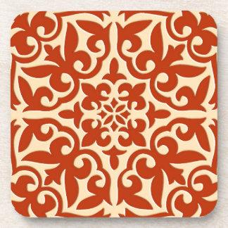 Moroccan tile - coral orange and peach beverage coaster