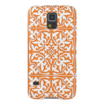 Moroccan tile - coral orange and white galaxy s5 cases