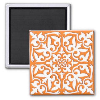 Moroccan tile - coral orange and white fridge magnet