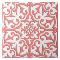 Moroccan tile - coral pink and white
