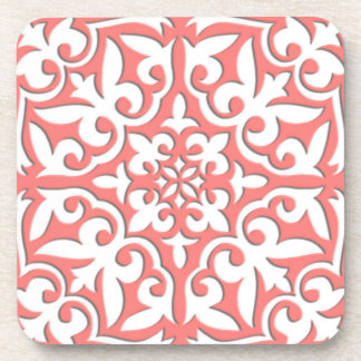 Moroccan tile - coral pink and white drink coaster