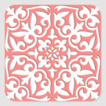 Moroccan tile - coral pink and white sticker